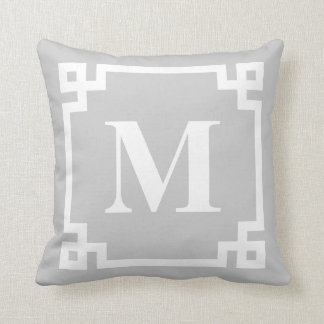 Gray and White Modern Greek Key Border Monogram Cushion