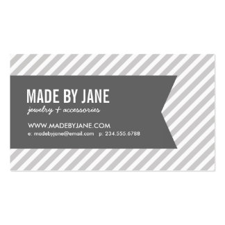 Gray and White Modern Stripes Social Media Business Card