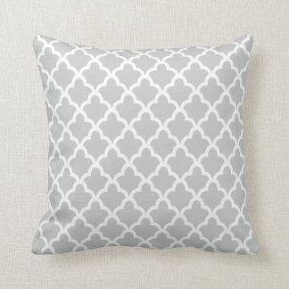 Gray and White Moroccan Pattern Throw Pillows Cushion