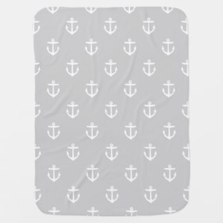 Gray and White Nautical Anchors Baby Blanket