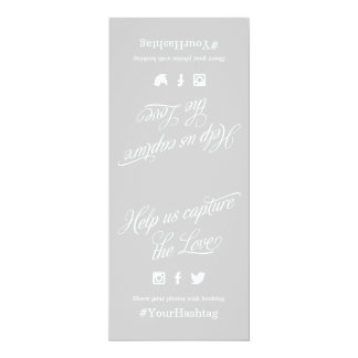 Gray and White Script Wedding Hashtag Sign 10 Cm X 24 Cm Invitation Card