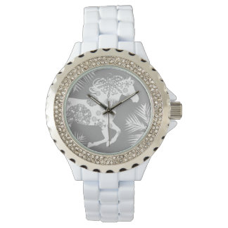 Gray and White Snowflake Christmas Horse Wrist Watches