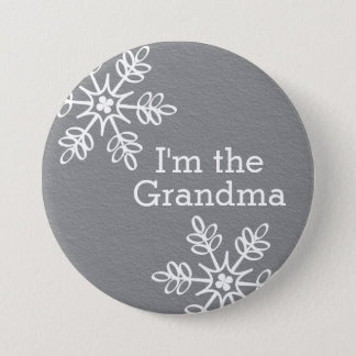 Gray and White Snowflake I'm the Grandma 7.5 Cm Round Badge
