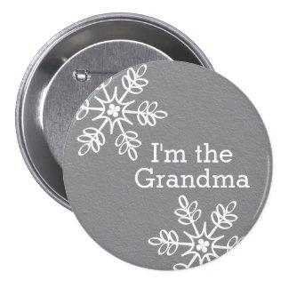 Gray and White Snowflake I'm the Grandma 7.5 Cm Round Badge