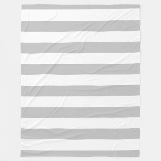 Gray and White Striped Fleece Blanket