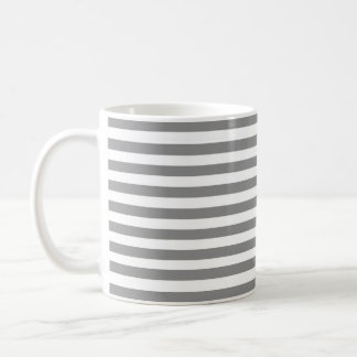 Gray and White Striped Mug