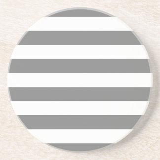 Gray and White Stripes Coaster