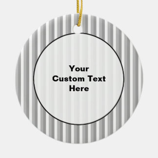 Gray and white stripes. Pattern. Double-Sided Ceramic Round Christmas Ornament