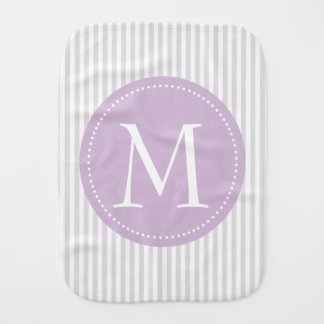 Gray And White Stripes Purple Custom Monogram Burp Cloth
