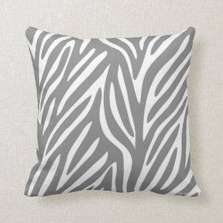 Gray and White Stylized Zebra Pattern Cushion