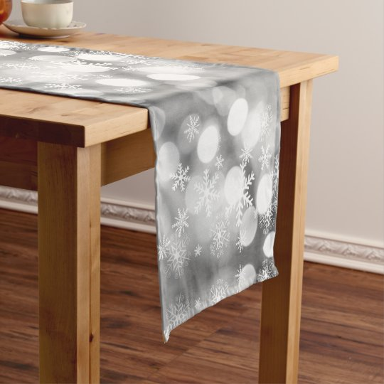 Gray and white table runner with snowflakes Xmas