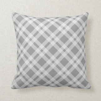 Gray And White Tartan Plaid Argyle Checked Pattern Cushion