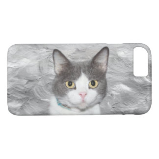 Gray and white tuxedo kitty iPhone 8/7 case