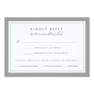 Gray and White Wedding RSVP Card w/ Meal Choice 9 Cm X 13 Cm Invitation Card