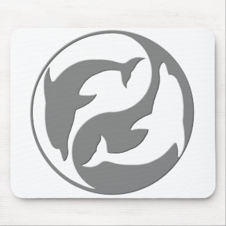 Gray And White yin Yang Dolphins Mouse Pad