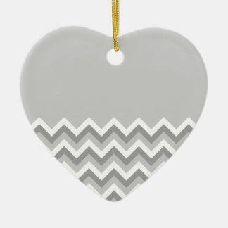 Gray and White Zig Zag Pattern. Part Plain Gray. Ceramic Heart Decoration