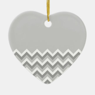 Gray and White Zig Zag Pattern. Part Plain Gray. Christmas Ornament