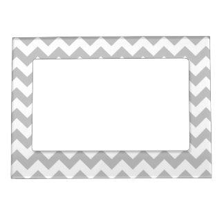 Gray and White Zigzag Chevron Pattern Magnetic Picture Frame