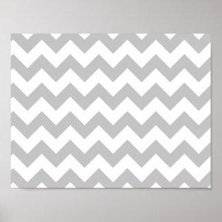 Gray and White Zigzag Chevron Pattern Poster