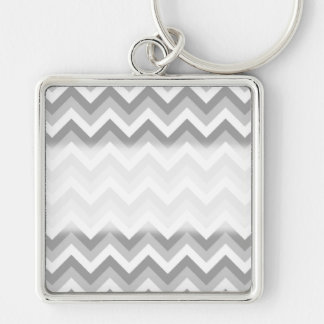 Gray and White Zigzag Pattern. Key Ring