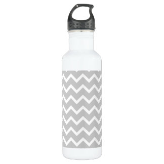 Gray and White Zigzag Stripes. 710 Ml Water Bottle