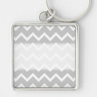 Gray and White Zigzag Stripes. Key Ring