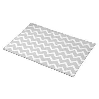 Gray and White Zigzag Stripes. Placemat