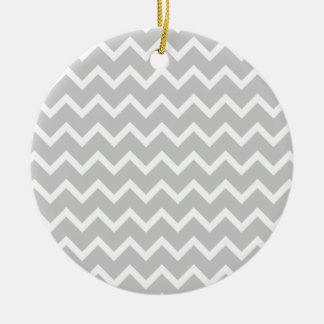 Gray and White Zigzag Stripes. Round Ceramic Decoration