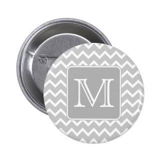 Gray and White Zigzags with Custom Monogram. 6 Cm Round Badge