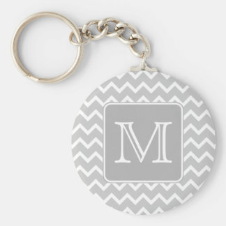 Gray and White Zigzags with Custom Monogram. Basic Round Button Key Ring