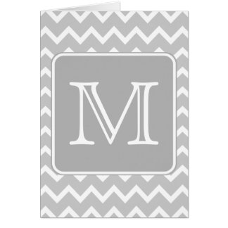 Gray and White Zigzags with Custom Monogram. Card