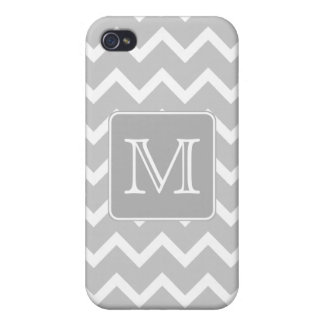 Gray and White Zigzags with Custom Monogram. iPhone 4/4S Cover