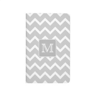 Gray and White Zigzags with Custom Monogram. Journal