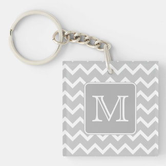 Gray and White Zigzags with Custom Monogram. Key Ring