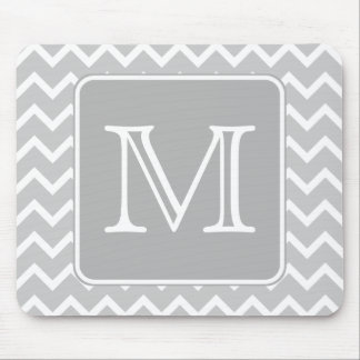 Gray and White Zigzags with Custom Monogram. Mouse Mat