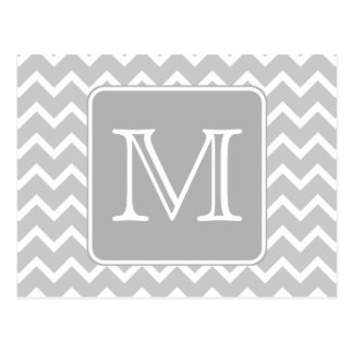 Gray and White Zigzags with Custom Monogram. Postcard
