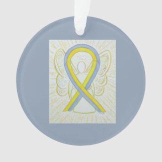 Gray and Yellow Awareness Ribbon Angel Ornaments