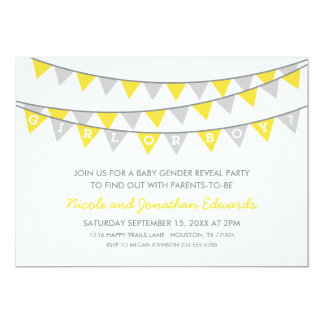Gray and Yellow Bunting Baby Gender Reveal Party Card