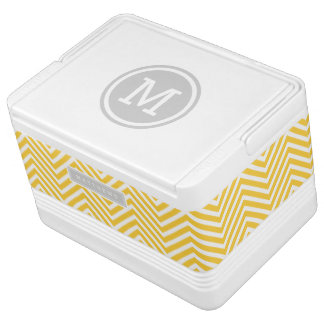Gray and Yellow Chevron Custom Monogram Igloo Cooler