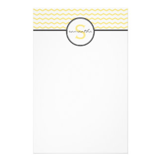 Gray and Yellow Chevron Monogram Stationery