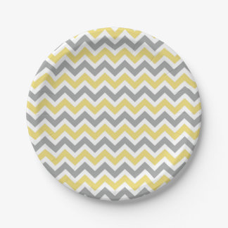 Gray and Yellow Chevron Plates