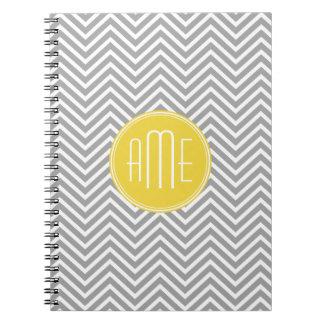 Gray and Yellow Chevrons Custom Monogram Notebooks