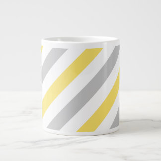 Gray and Yellow Diagonal Stripes Pattern Large Coffee Mug