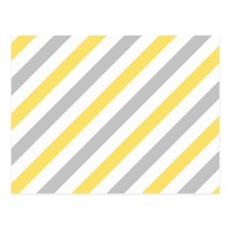 Gray and Yellow Diagonal Stripes Pattern Postcard