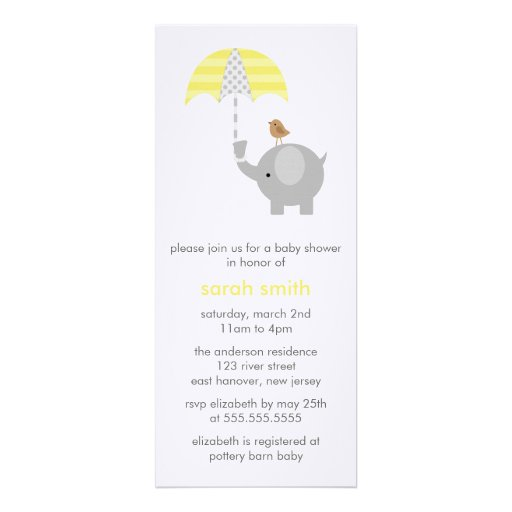 Gray and Yellow Elephant Baby Shower Announcements