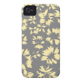 Gray and yellow floral pattern. iPhone 4 Case-Mate case
