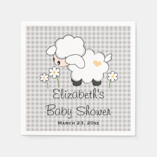 Gray and Yellow Lamb Gender Neutral Baby Shower Disposable Napkins