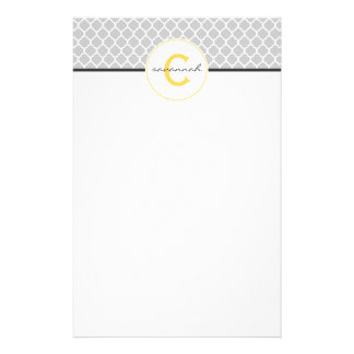 Gray and Yellow Monogram Stationery