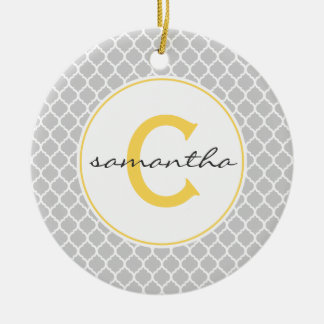 Gray and Yellow Quatrefoil Monogram Christmas Ornament