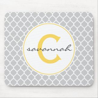 Gray and Yellow Quatrefoil Monogram Mouse Mat
